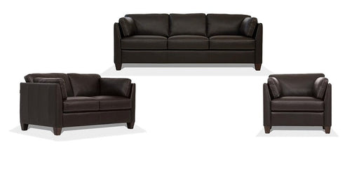 Matias Chocolate Leather 3-Piece Living Room Set image