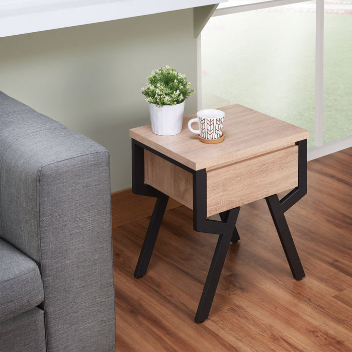 Kalina Rustic Natural & Black End Table image