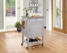 Hoogzen Stainless Steel & Gray Kitchen Cart image