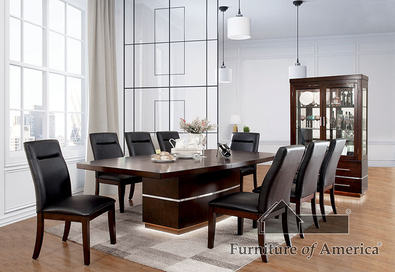 LAWRENCE Dark Cherry 9 Pc. Dining Table Set image