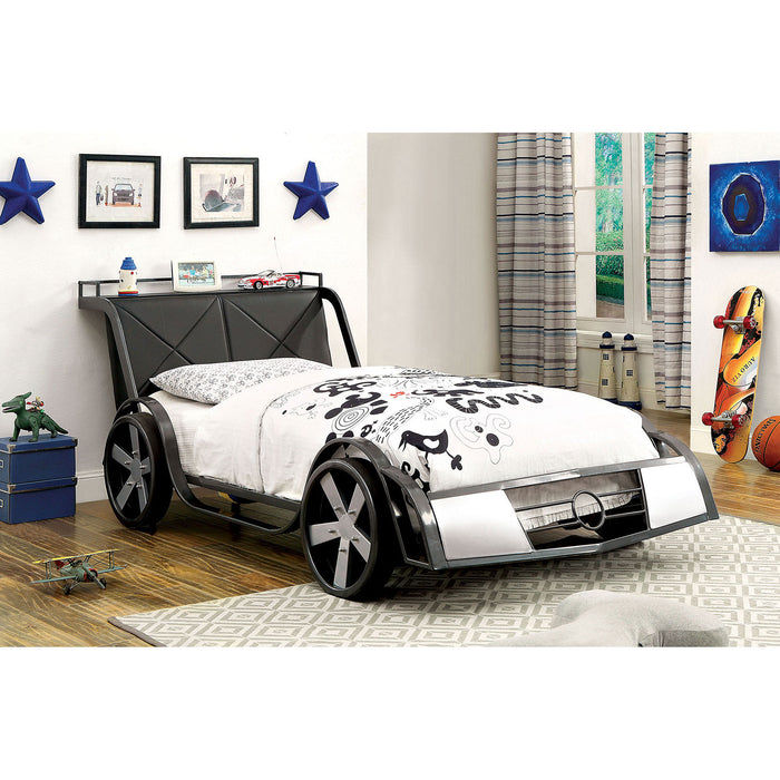 GT RACER Silver/Gun Metal Twin Bed image