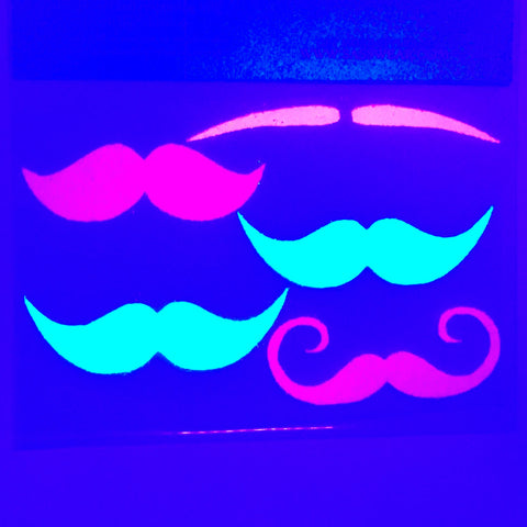 mustache fingerstache glow body stickers