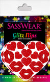 Red Glitter Heart Kiss Body Stickers Pasties