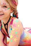 Neon Glitter Star Body Stickers by Sasswear