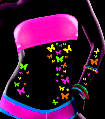 Butterfly Blacklight Body Stickers-40 Pk - Sasswear