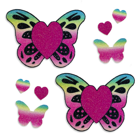 Glitter butterfly heart nipple pasties body stickers