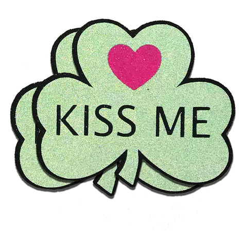 Reflective Clover Kiss Me Heart Nipple Pasties - Sasswear
