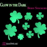 Clover/Shamrock Glow-in-the-Dark Body Stickers-Mini - Sasswear