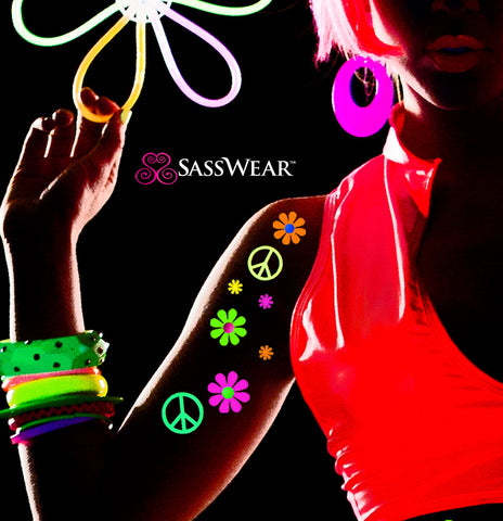 Glow in the dark daisy body stickers Hippy Costume