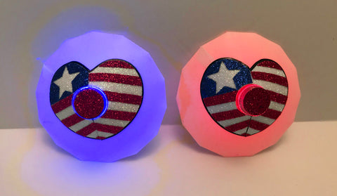 July 4th Flag Heart Light Up Pasties