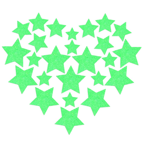 Glitz Nips Neon Green UV Star Body Stickers