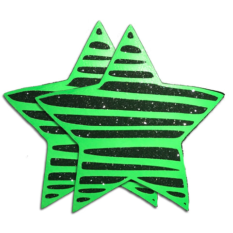 Neon Green Reflective Star Pasties by Sasswear