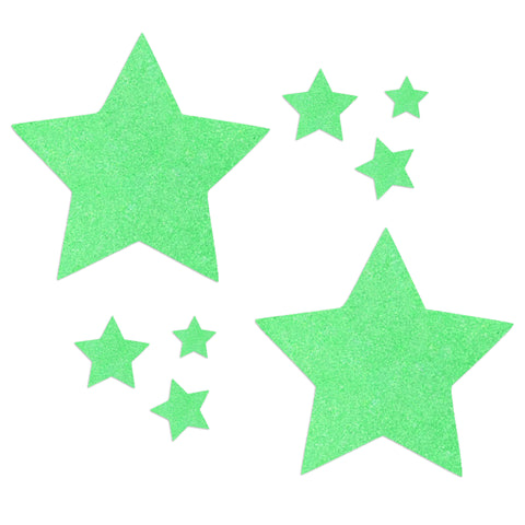 Glitz Nips Neon UV Green Star Pasties