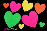 Blacklight Heart Body Stickers Glow