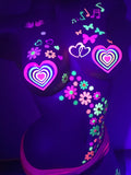 blacklight heart rainbow nipple pasties glow tassels