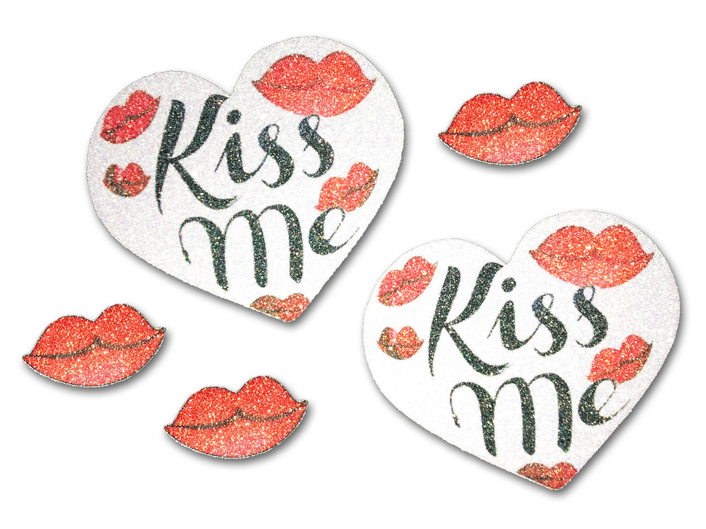 Kiss Me glitter heart pasties and kiss stickers