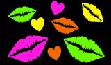 neon blacklight glow lips kisses stickers by Sasswear
