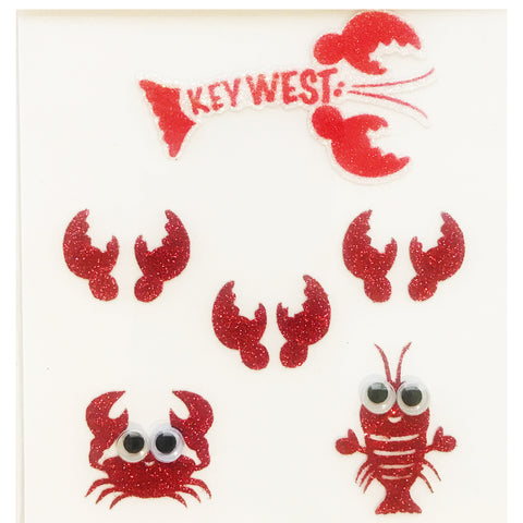lobster key west glitter body face stickers