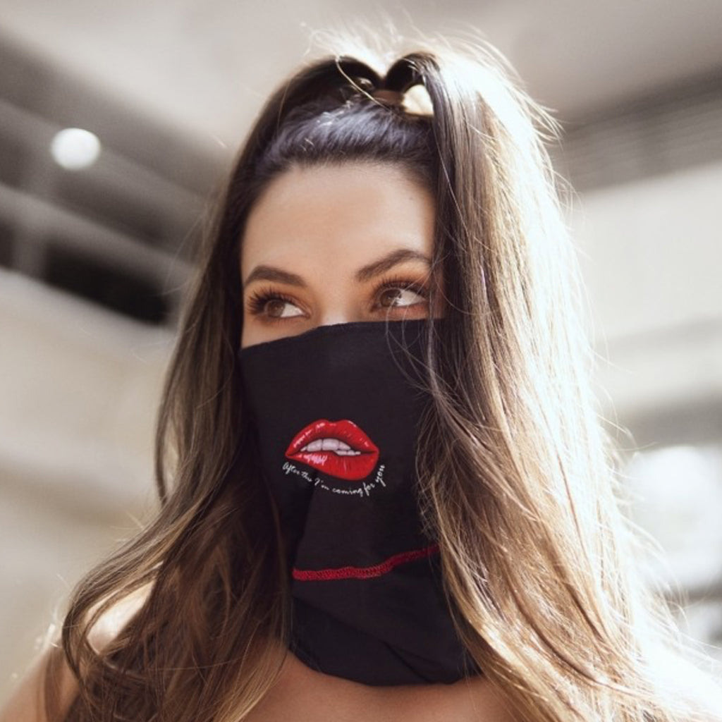 Face Mask Bandana | Red Lips/ No Kissing by Mapalé