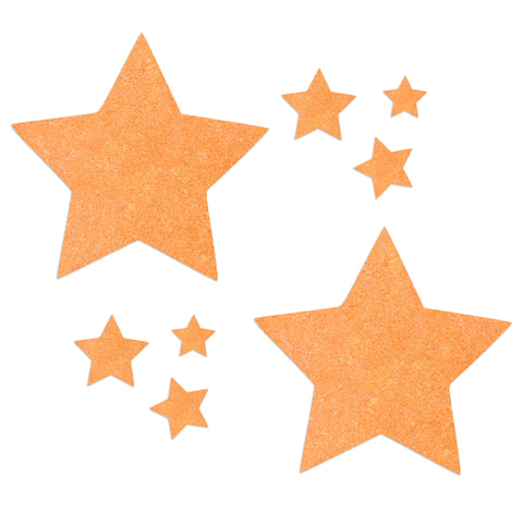 Glitz Nips Neon UV Orange Star Pasties