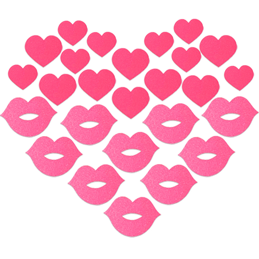 neon reflective pink kiss heart body stickers