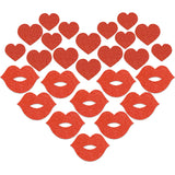Red Glitter Heart Kiss Body Stickers