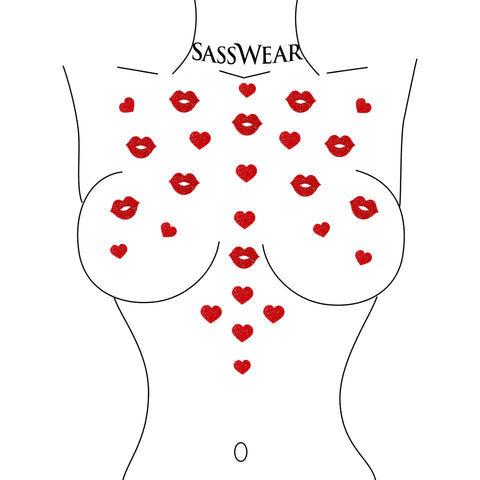 pucker up red glitter body sticker pasties