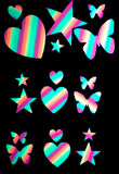 Heart, Butterfly, Star Rainbow Glow Body Stickers by Sasswear