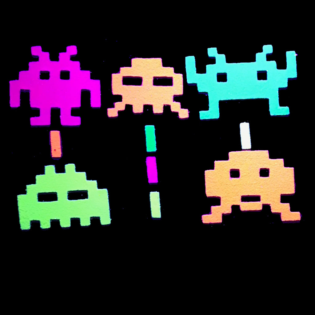 Space Invaders Glow-in-the-Dark Body Stickers-Mini - Sasswear
