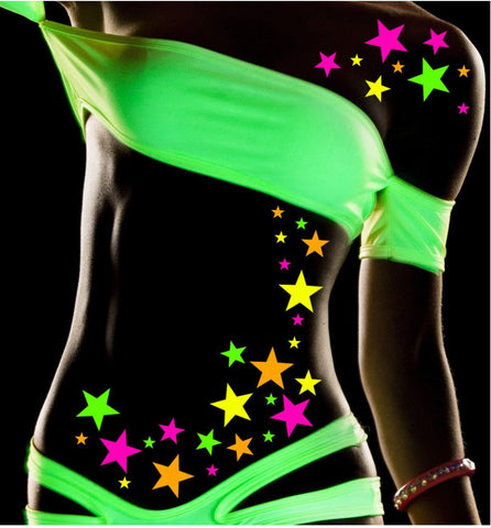 black light star body tattoo stickers by sasswear