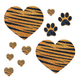 tiger stripes glitter pasties hearts
