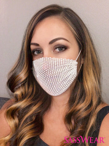 Face Mask Cover - Mesh Rhinestone