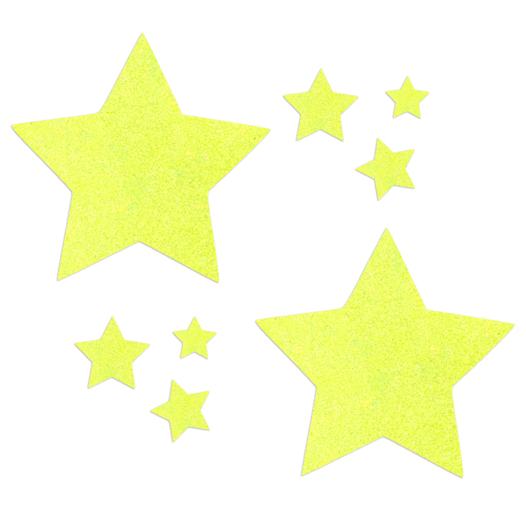 Glitz Nips Neon UV Yellow Star Pasties
