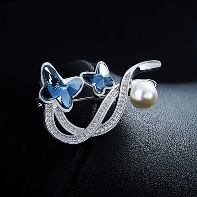 Butterfly Crystal Pearl Brooch