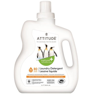 Attitude Laundry Detergent 4x Concentrated Citrus Zest