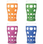 Life Factory 20oz Beverage Glasses with Silicone Sleeve 4 pack Multi-Color