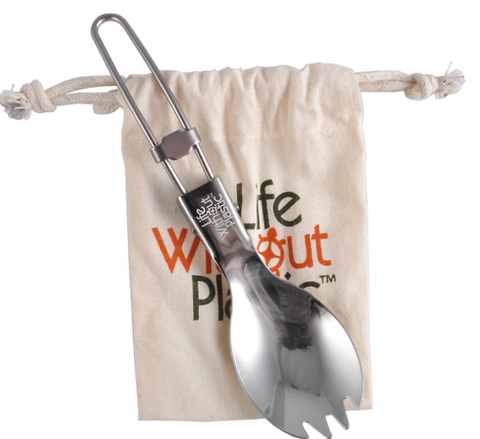 Life Without Plastic Stainless Steel Folding Spork with Organic Cotton LWP Pouch