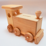 Wooden Train Engine Coin Bank