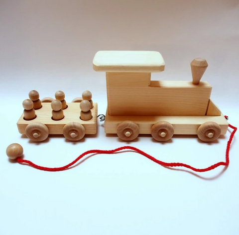 Wooden Two Car Train Set
