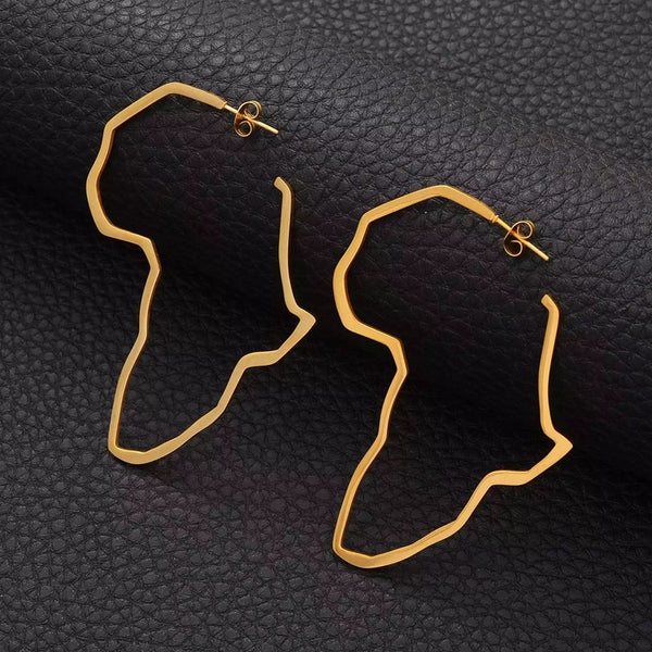 Africa Map Earrings - Large (Hoop)