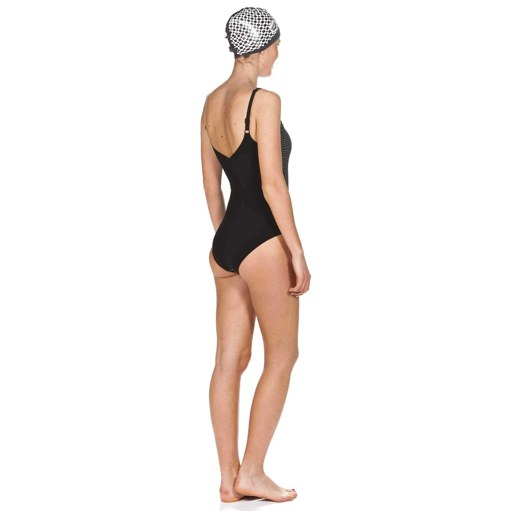 W Therese Wing Back One Piece Zwart - wit | Zwemmershop