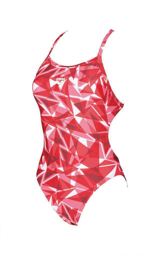 Dames Shattered Glass Lightech One Piece (gevoerd) FluoRood | Zwemmershop