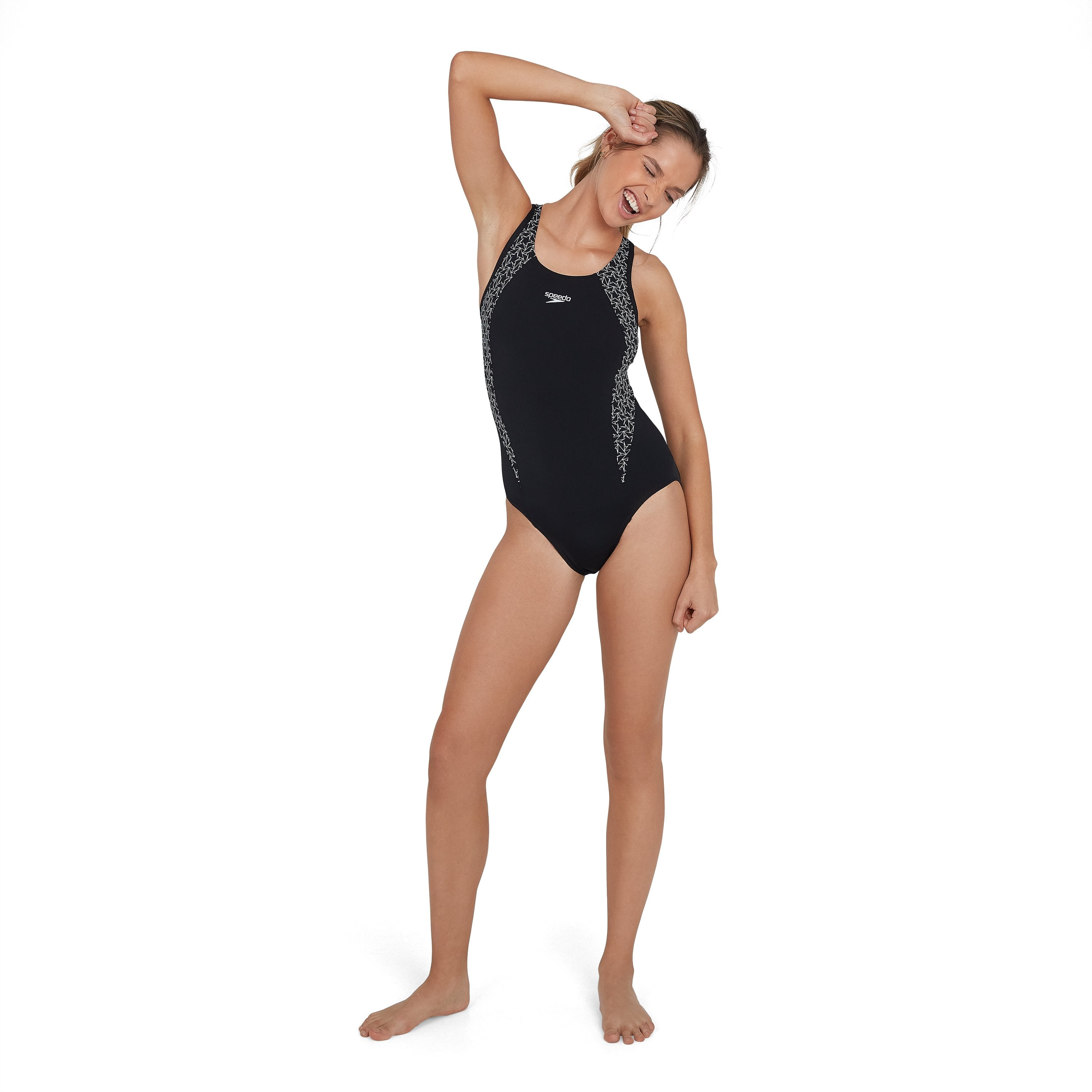 Boomstar Splice Flyback Swimsuit Zwart - Wit | Speedo (5353720414371)