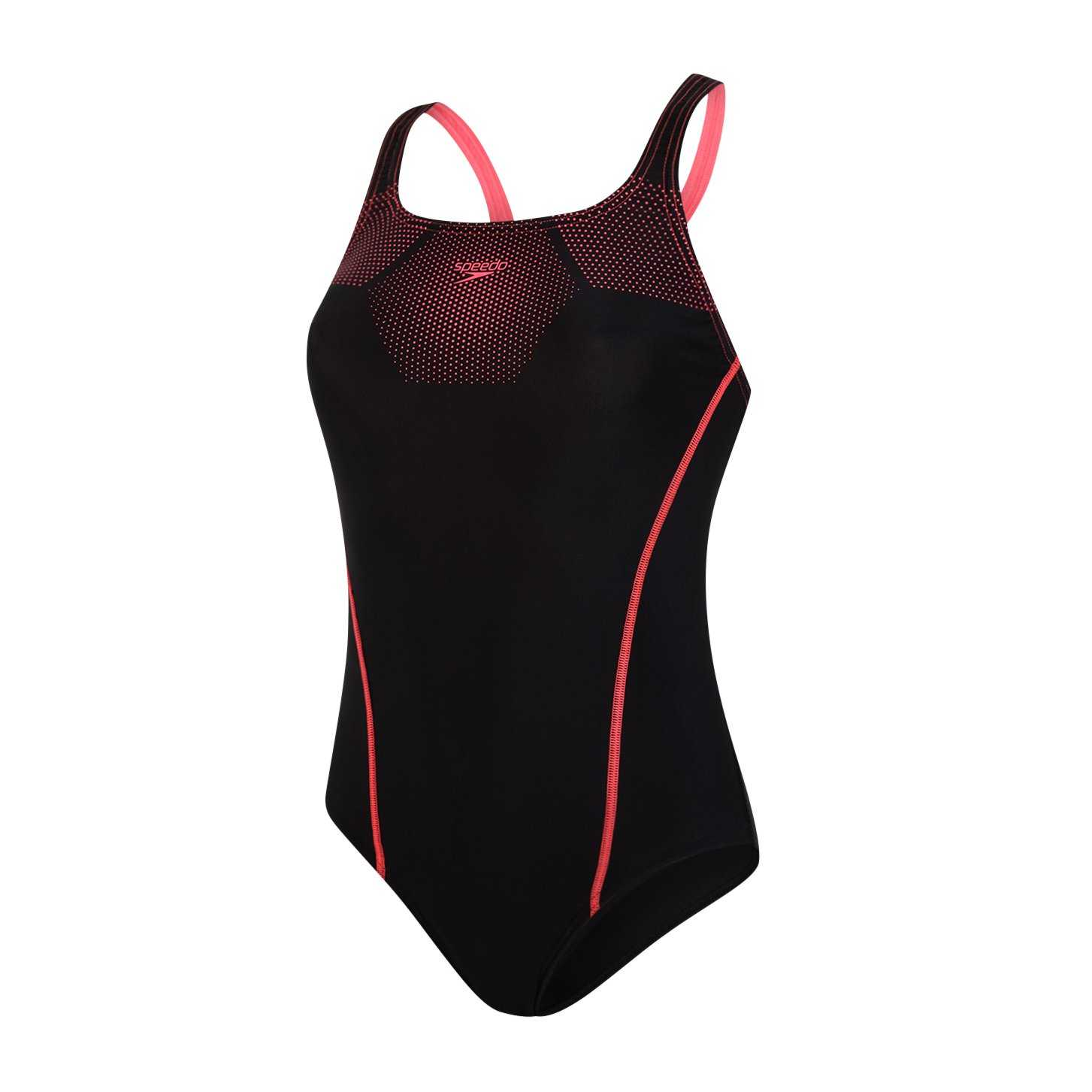 Hexagonal Tech Medalist Swimsuit Zwart - Rood
