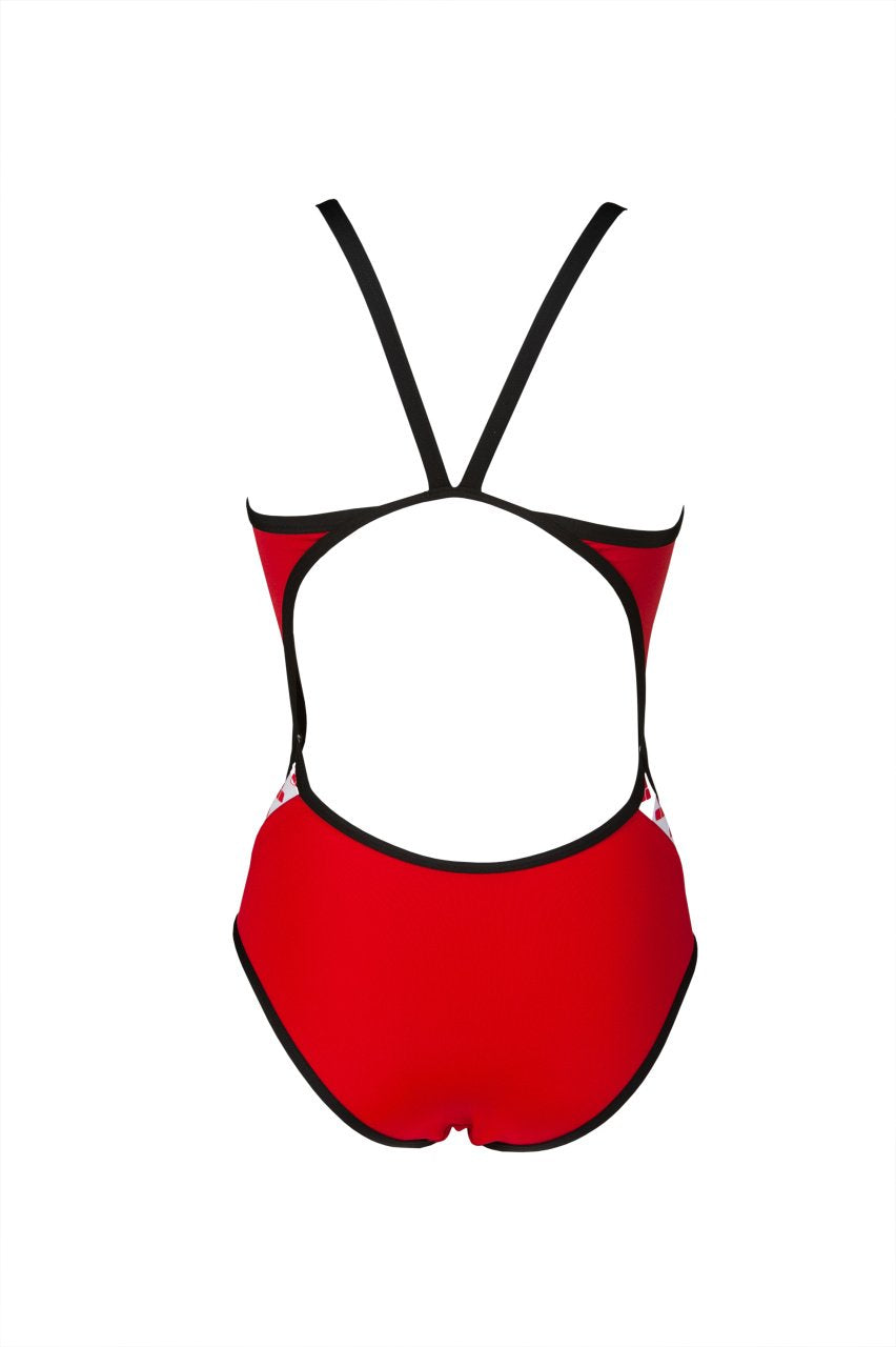 Team Stripe Super Fly Back One Piece Rood - Zwart | Arena