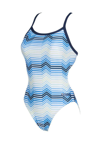 W Stripes Challenge Back One Piece Blauw - Multi | Arena