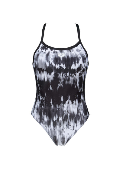 Arena W Tiedye Stripes Challenge Back One Piece black-white (6247435960507)