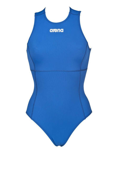 Dames Solid Waterpolo One Piece Royal - Wit | Zwemmershop