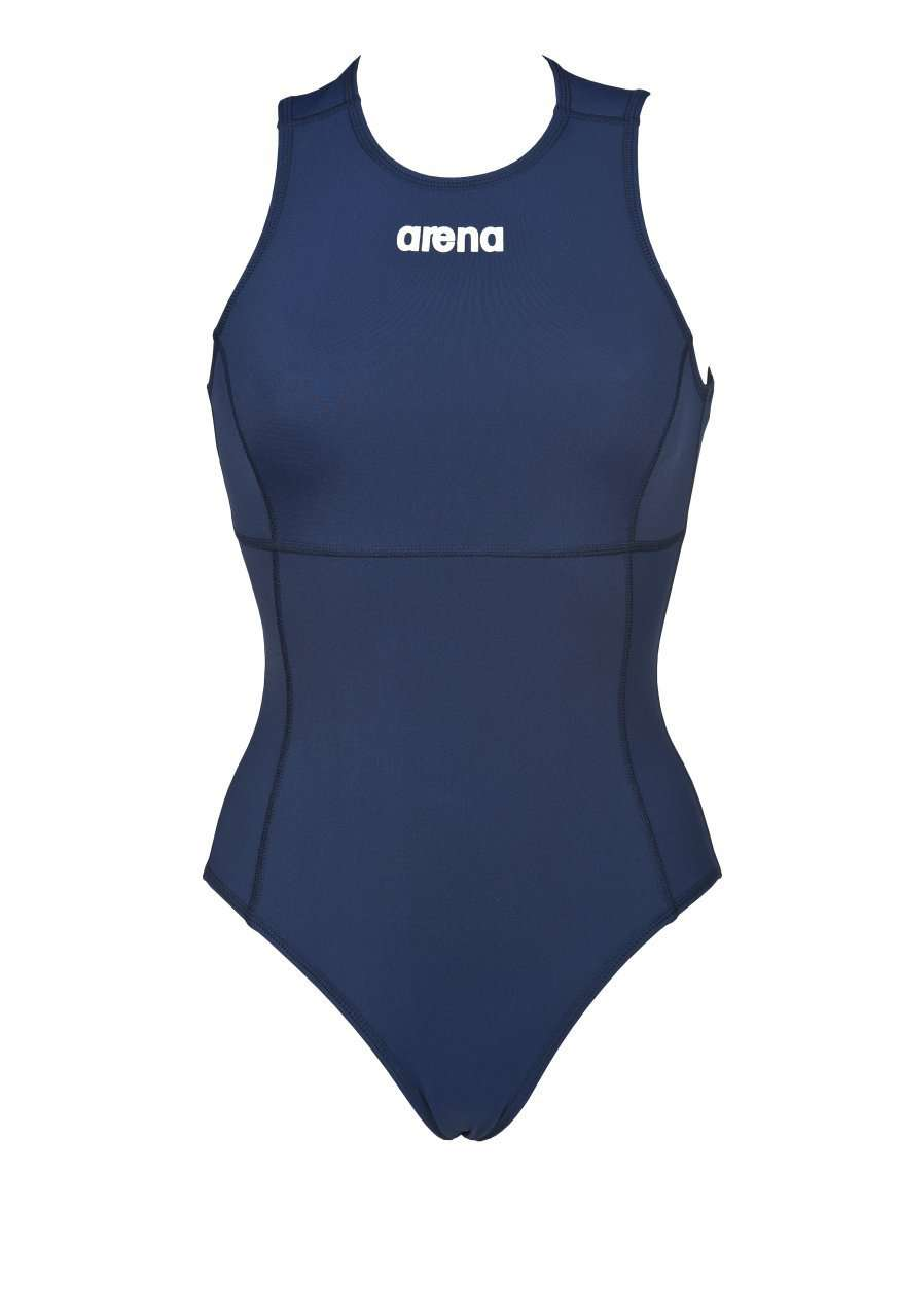 Dames Solid Waterpolo One Piece Navy - Wit | Zwemmershop