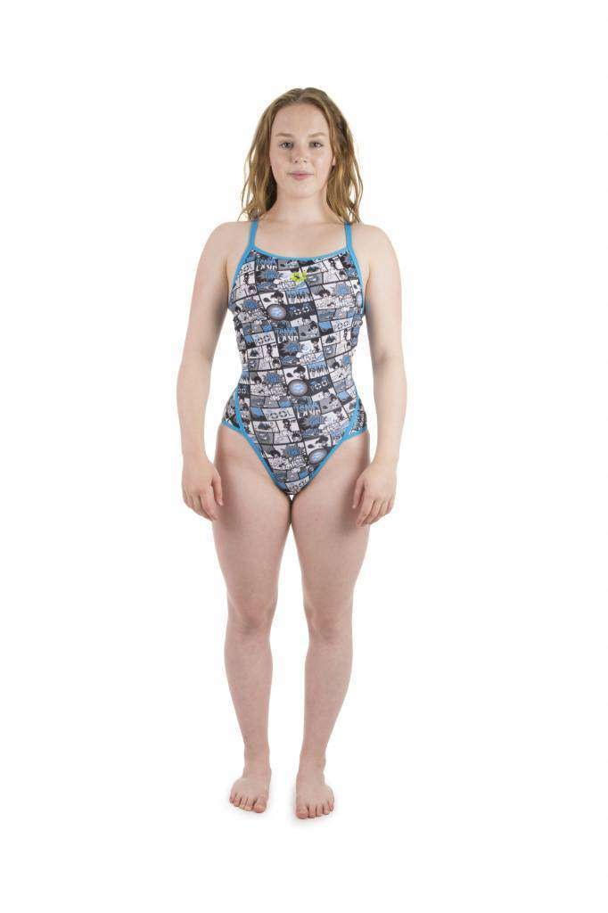 W Comics Super Fly Back One Piece Lined turquoise-black | Zwemmershop